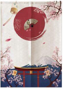 Yosooo Estilo japonés Niños Media Cortina, Material de poliéster Curtian para Dormitorio Cocina Tienda Restaurante Puerta 85 * 120 cm