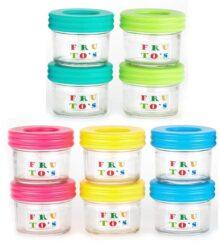 Contenedores de almacenamiento de alimentos para bebés, de vidrio, contiene 10 tarros pequeños reutilizables de 4 onzas con tapas herméticas, congelar de forma segura tu comida casera para bebés