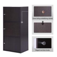 FurnitureR Gabinete de Almacenamiento Multifuncional con 3 Puertas magnéticas Librería Moderna clásica Gabinetes de Archivos Verticales de Oficina en casa, marrón Espresso