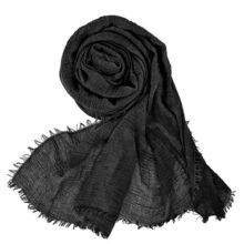 Wobe - Bufanda larga de cáñamo de algodón suave para mujer, pañuelo de viaje de pashmina, elegante, bufanda de hijab, ligera, cálida, con cabeza grande, de muselina, color negro