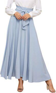 SweatyRocks Falda Elegante de Cintura Alta para Mujer, Falda Plisada Frontal