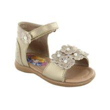 COQUETA Sandalias para Niña Fabricadas En Piel Color Oro con Aplicaciones De Flores