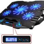 TopMate C5 12-15.6 Pulgadas Gaming Laptop Cooler Cooling Pad, 5 Ventiladores con LCD Pantalla, 2500RPM diseñado a Levantar Viento Fuerte, Adecuado para Jugadores y oficinistas.