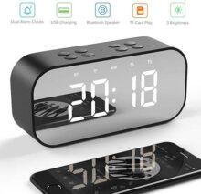 Salandens Reloj despertador digital, bocina bluetooth, sonido estéreo, altavoz inalámbrico Bluetooth 5.0, portátil, micrófono integrado. Entrada de auxiliar tamaño 3.5mm AUX/Micro SD/TF/USB, ideal para viajar, pantalla tipo Espejo
