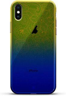 Luxendary Designer, Funda para teléfono Celular con Efecto de camaleón Que Cambia de Color para iPhone XS/X, diseño de béisbol, Color Azul, Ornamento: Cachemira Verde, Azul Dusk