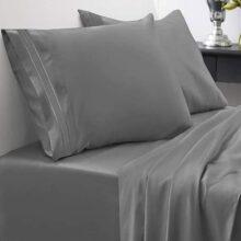 Juego de sábanas de 1800 hilos - Sweet Home Collection - Sábanas hipoalergénicas, suaves de microfibra cepillada - Juego de cama de lujo con sábana encimera, 2 fundas de almohada y sábana ajustable, California King, beige , Gris, King, 1
