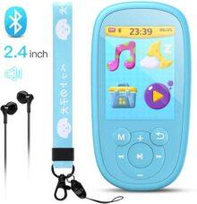 AGPTEK K2 Niño Reproductor MP3 Bluetooth 8GB Portátil con HD Pantalla de 2.4 Pulgada, Altavoz Interna, Función de Radio FM, Grabador de Voz, Video, E-Libro, Calendario, Soporta hasta 128GB, Azul
