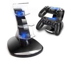 Cargador Mandos PS4,Estación de Carga Doble Cargador Base de Carga Cargador Doble Mando para PS4 Estación de Carga Rápida Dual USB Cargador USB con Soporte Indicador del LED para Mandos de Sony PS4 (Negro+Azul)