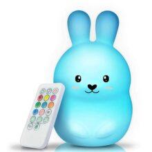 Luz de noche, GLURIZ LED Luz Nocturna, 9 Colores RGB Recargable con Control remoto, Silicona sin BPA, Función de temporización, Lámpara de noche para decoración dormitorio habitación Bebé (Medio Conejo)