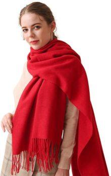 LumiSyne Invierno Premium Bufanda De Cachemira De Color Liso Para Mujer Pashmina Chales Con Borla Fulares Suave Estola Grande y Engrosada