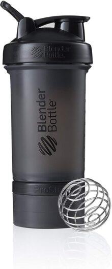 BlenderBottle ProStak sistema con botella de 16 onzas y almacenamiento Twist n' Lock, Completamente negro, 22 oz, 1