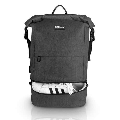 """RedLemon Mochila Antirrobo Backpack Roll Top Impermeable, Expandible, Compartimento Multiusos y para Laptop de 15"""" y Tablet, con Puerto USB, Resistente, para Viajes y Campamentos. Gris Oscuro"""