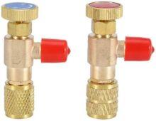 """Yosoo 2 Piezas Válvula de Seguridad Líquida R410A R22 Aire Acondicionado Refrigerante 1/4""""Adaptador de Seguridad Válvula de Carga de Refrigerante"""