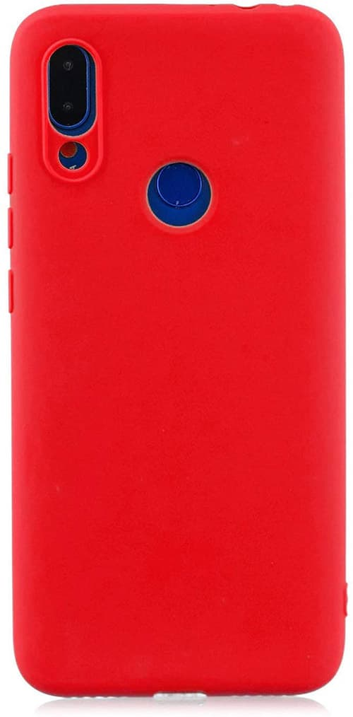 cuzz Protector Funda Xiaomi Redmi Note 7/Note 7 Pro,con [Protector Pantalla Completa],360 Grados Delgada Flexible con Antichoque Silicona Suave Shell-Rojo