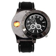 BLACK MAMUT Reloj Cigarette Lighter Encendedor Movimiento Analogo Correa de Silicon Recargable Via USB a Prueba de Viento sin Llama