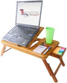 SEAFON Mesa De Bambú Con Ventilador Cooler Para Laptop De 10 - 16 pulgadas