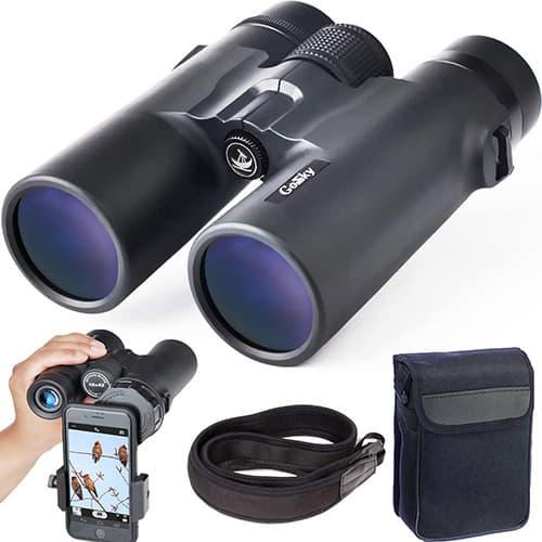 Binoculares Gosky 10x42 para adultos, binoculares compactos HD profesionales para la observación de aves Viajes de caza Conciertos de caza Deportes-BAK4 Prisma FMC Lente con teléfono Montura con correa Bolsa para el transporte