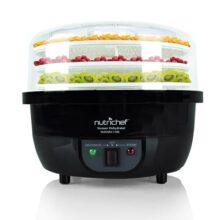 NutriChef PKFDSRC11BK Máquina deshidratadora de alimentos y vaporizador eléctrico profesional, preservador de carne, hace cecina de res, secador de fruta, vaporiza arroz y verduras con bandejas apilables en negro
