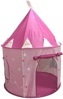 SueSport - Casa de campaña con diseño de castillo de princesas, para jugar, color rosa