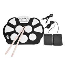 Kit de batería electrónica, batería enrollable plegable digital, set de almohadillas para orejas flexibles de silicona con altavoces integrados, toma MIDI USB con baquetas, pedales para práctica de principiantes y niños