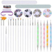 Kit de Arte de Uñas Decoración Acrílicas Gelish Incluye Lápiz de Pintura de Gel UV, Pinceles para Delineador de Uñas, Cinta de Rayas, Lima de Uñas, Cepillo de Limpieza de Dedos Nail Art Decorar Diseño