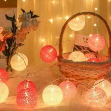 Guirnalda de luces, GLURIZ Luces Bola de algodón, 20 Bolas 3 Metros 8 modelos, Lámpara lluminación de decoración, lluminación de para ventanas, fiestas, bodas y navidad (Rojo, Rosado y Blanco)