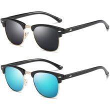 HILBALM 2 Paquetes Lentes de sol Polarizado Unisex Hombre Mujer Clásico Cuadrado Vintage UV400 Protección Gafas de sol
