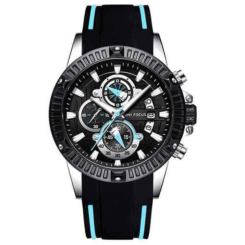 Kingten Reloj de hombre Original Multifunción Personalidad de Moda Negocios Estudiante Ocio a Prueba de Agua Reloj de Regalo de Cuarzo Analógico Correa de silicona azul