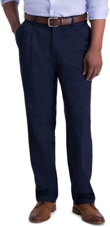 Haggar Pantalones Informales de Cintura expandible para Hombre, sin Hierro, Color Caqui
