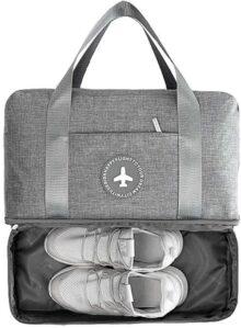 PUBAMALL Bolso deportivo con bolsa de zapatos, fin de semana con equipaje de mano bolsas de equipaje, bolsa de playa (One Pack, gris)