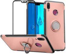 Funda Huawei Y9 2019 Case Protector de Pantalla de Cristal Templado, 360 Grados anillo soporte celular Híbrida Rugged Armor Choque Absorción Protección Funda para Huawei Y9 2019 / Enjoy 9 Plus, Oro Rosa