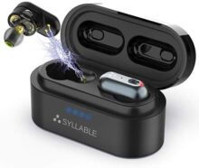 Audífonos Bluetooth, Syllable S101 Auriculares Inalámbricos Bluetooth 5.0 Estéreo In-Ear Cascos Mini Twins 4 Ponentes Carga Rápida IPX6 Impermeable con Caja de Carga Portátil para iPhone y Android