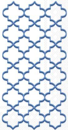 Boston International - Servilletas de papel para invitados, diseño de bufé, Moroccan Trellis Admiral Blue, 8.5 x 4.5-Inches, 1