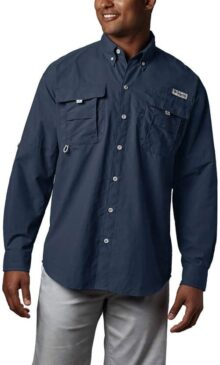 Columbia Camisa de Manga Larga PFG Bahama II para Hombre, Transpirable con protección UV