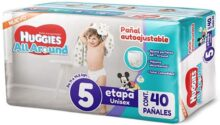Huggies All Around, Pañales Unisex, Etapa 5, 40 Piezas
