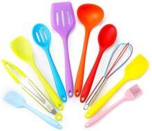 10 Piezas Conjunto de Utensilios de Cocina, Utensilios de Cocina de Silicona, Set de Utensilios para Cocinar y Hornear con Silicona de Grado Alimenticio