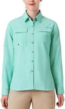 NAVISKIN Camisa Casual con Protección UV UPF 50 para Mujer Camiseta Blusa de Mangas Arrollables Deporte Térmica Pesca Acampada Campismo Senderismo Marcha Ligero Secado Rápido