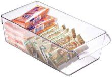 InterDesign Linus Caja para almacenaje, Organizador para la Cocina de plástico de tamaño Mediano, Caja con Asas, Transparente