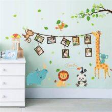 Marco Lindo de Los Animales Pegatinas de Pared Jirafa León Rhino Mono Árbol Aves Adhesivo de Pared de Vinilo Decorativo Extraíble DIY para Cuarto de Niños, Sala de Estar, Dormitorio de Los Niños Mural