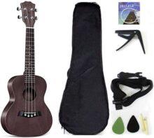 Ukelele de concierto de madera de caoba maciza de 23 pulgadas con accesorios para ukelele con funda, correa, cuerda de nailon, púas, Marrón, 21 inch