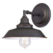 Westinghouse Lighting Iron Hill Lámpara de pared para interiores, 1-Light Sconce, Oil Rubbed Bronze - White Interior