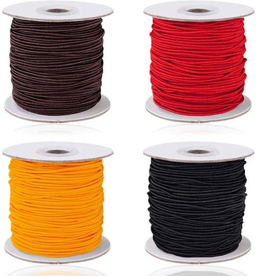 4 rollos de cordón elástico de 0,8 mm / 1 mm, cordón de cordón de hilo elástico AIFUDA para hacer pulseras de joyería DIY, 50 metros/rollo (4 colores)