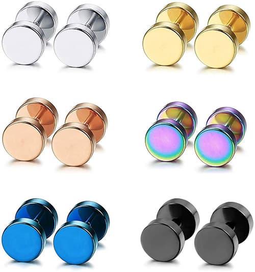 Aroncent - Juego de 6 pares de arete de acero inoxidable de 4 a 14 mm, color negro
