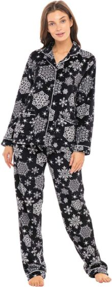 Alexander Del Rossa Women's Warm Fleece Pajamas, Long Plaid Button Down PJ Set