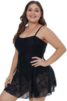 Traje de baño Tallas Extras para Dama con batita Vestido Negro