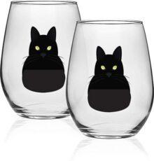 Circleware 15508 - Juego de 2 copas de vino sin tallo para gatos, color negro, para el hogar y la cocina, para fiestas, entretenimiento, comedor, para agua, cerveza, zumo, té de hielo, whisky, vasos de regalo de whisky, 18,9 oz, gatitos