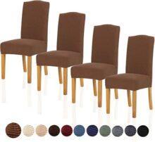 TIANSHU Fundas para sillas Pack de 4,Poliéster Elástica Fundas sillas Duradera Modern Bouquet de la Boda Hotel Decor Restaurante(Pack de 4,Café)