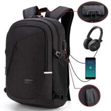 Mochila antirrobo,DOXUNGO Mochila para portátil Unisex con bloqueo con contraseña y puerto de carga USB Interfaz y puerto para audífonos,Mochila Daypack Impermeable hasta 15.6 pulgadas(V-Negro)