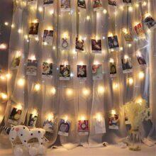 Clip Cadena de Luces LED, Uplayteck 13 ft Luces LED Decorativa 40 Fotoclips, 2 Modos de Luz, Guirnalda Luminosa LED para Decorar Fotos, Postales, Notas, boda, Navidad, De La Boda