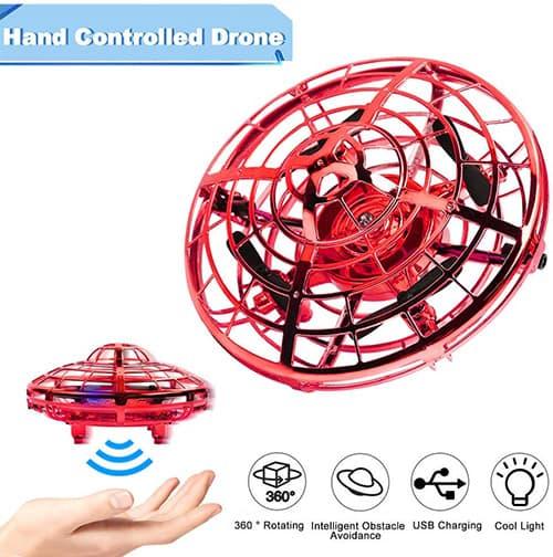 OKPOW Drone operado a Mano,Flying Toys Drones para niños y Adultos, Mini Drone Helicopter controlado por Las Manos con 360 ° de rotación fácil de Interior Flying Ball Drone Toys para niños o niñas (Red)